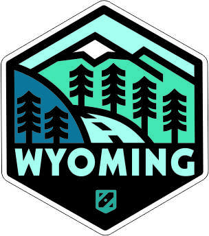 WY Retro Design#10 Blue Mtns Sticker Die-Cut (Approx. 10sq. in.)